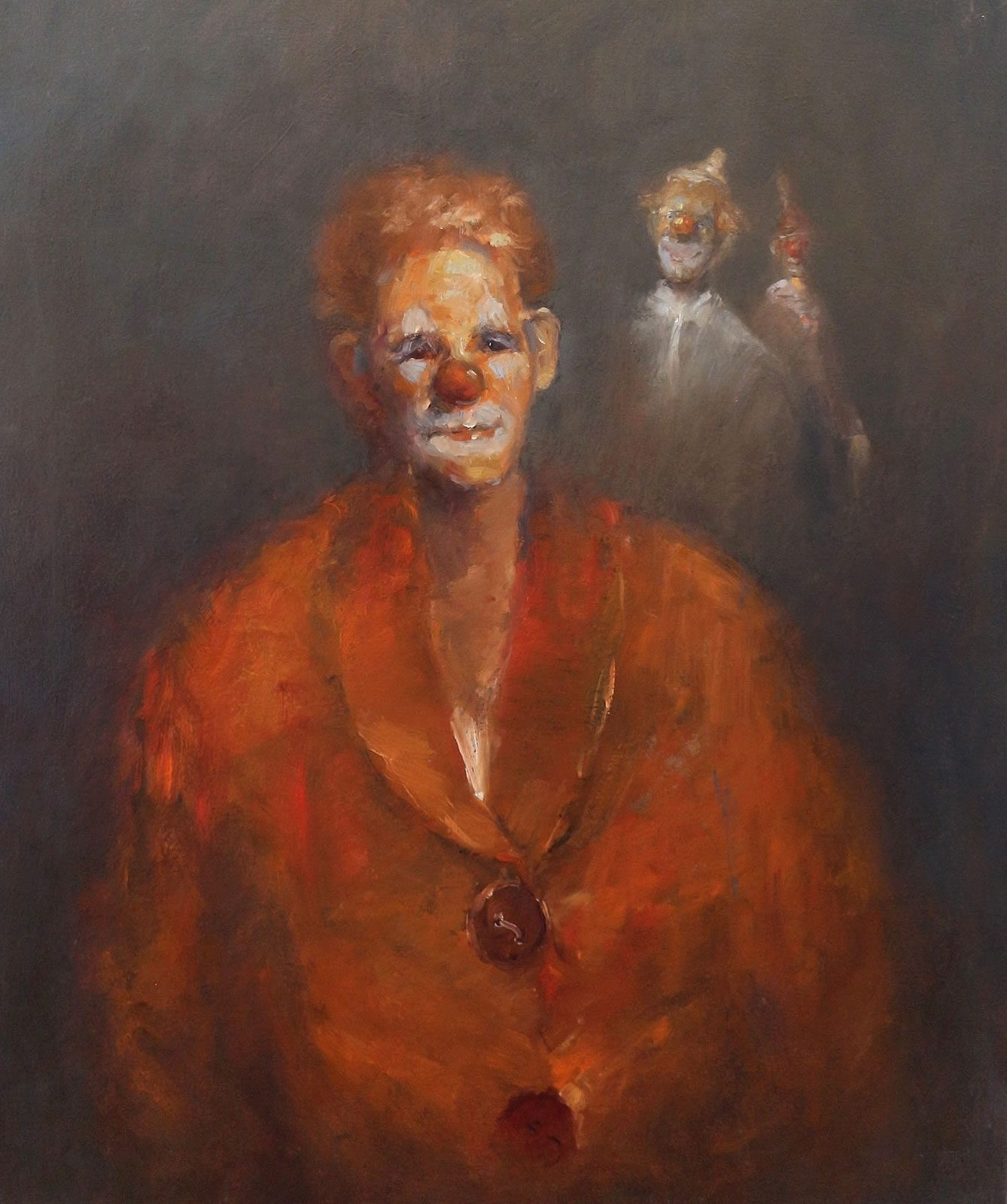 Oil painting of melancholy clown by Stewart Taylor