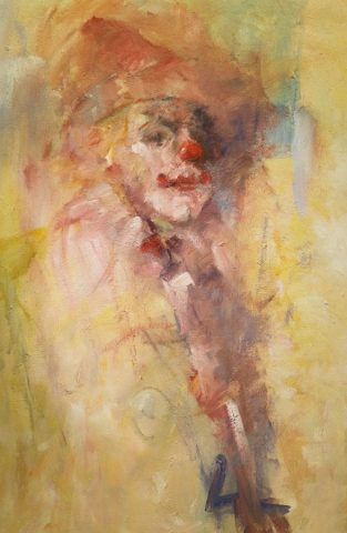Intimate character study in oils of circus clown by Stewart Taylor