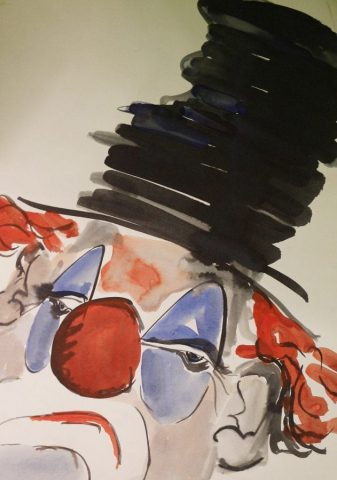 Watercolour and ink clown study by Stewart Taylor