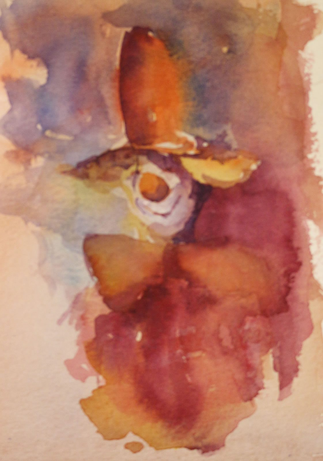 Clown painting in watercolours by Stewart Taylor