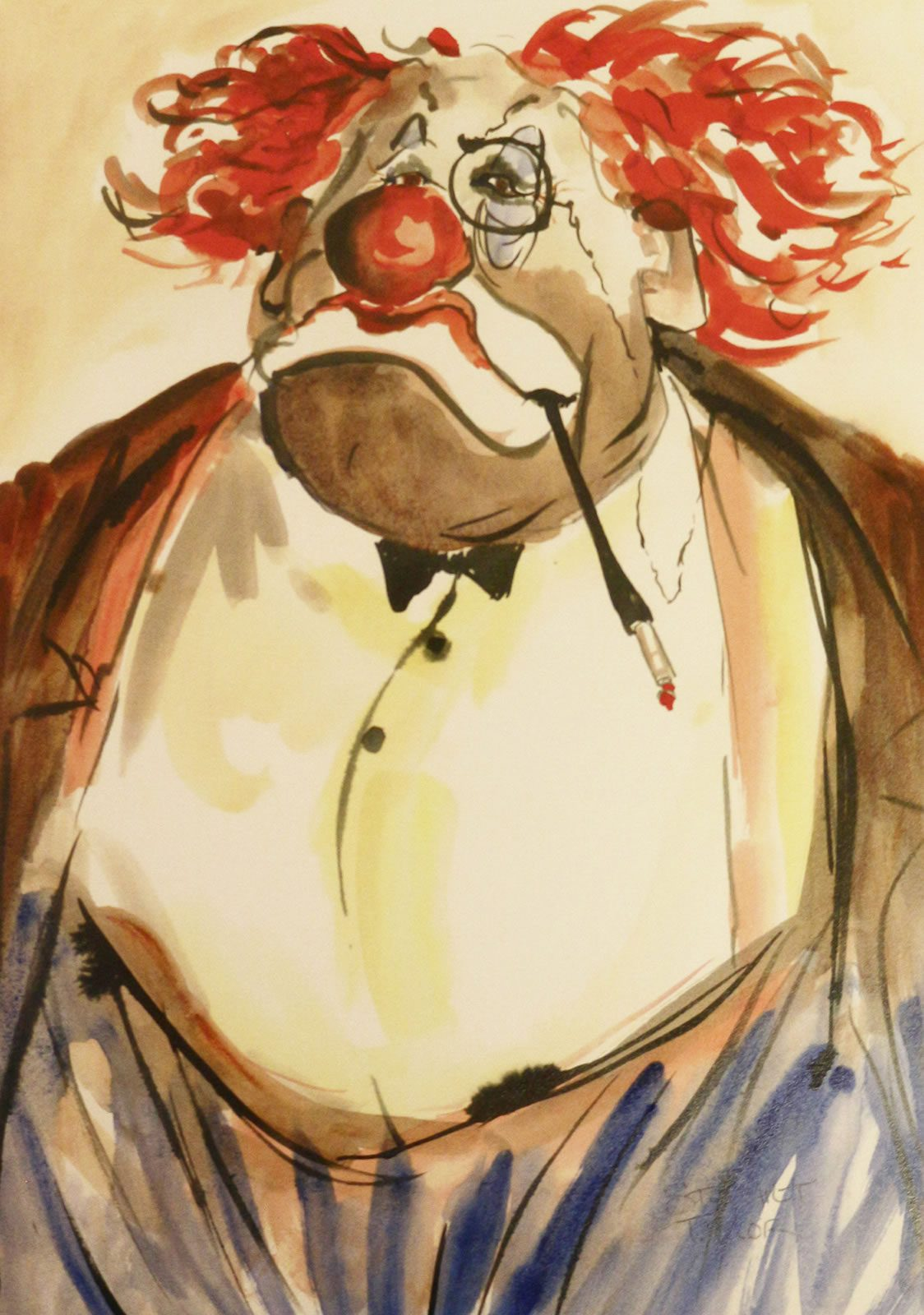 Humourous watercolour and ink study of clown by Stewart Taylor