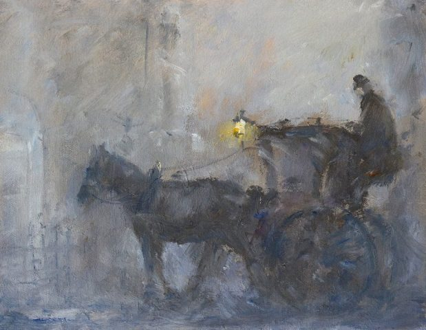 Oil painting of hansom cab in the foggy streets of London by Stewart Taylor