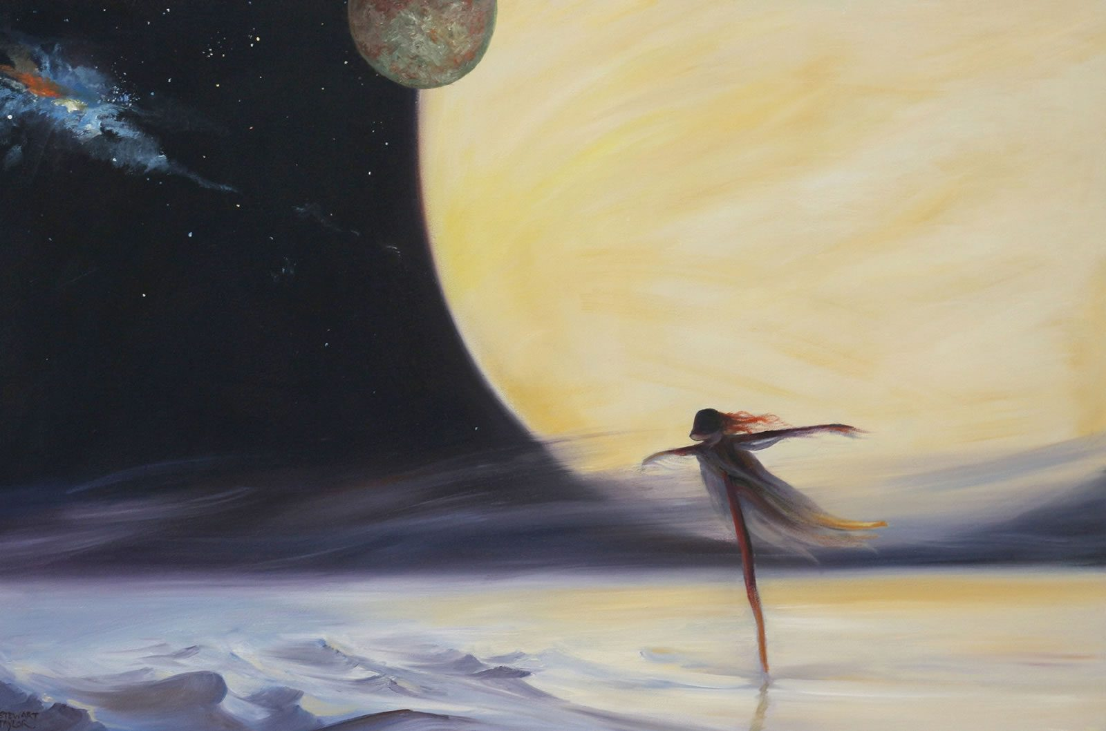 Bleak futuristic vision in an oil painting form the imagination of Stewart Taylor
