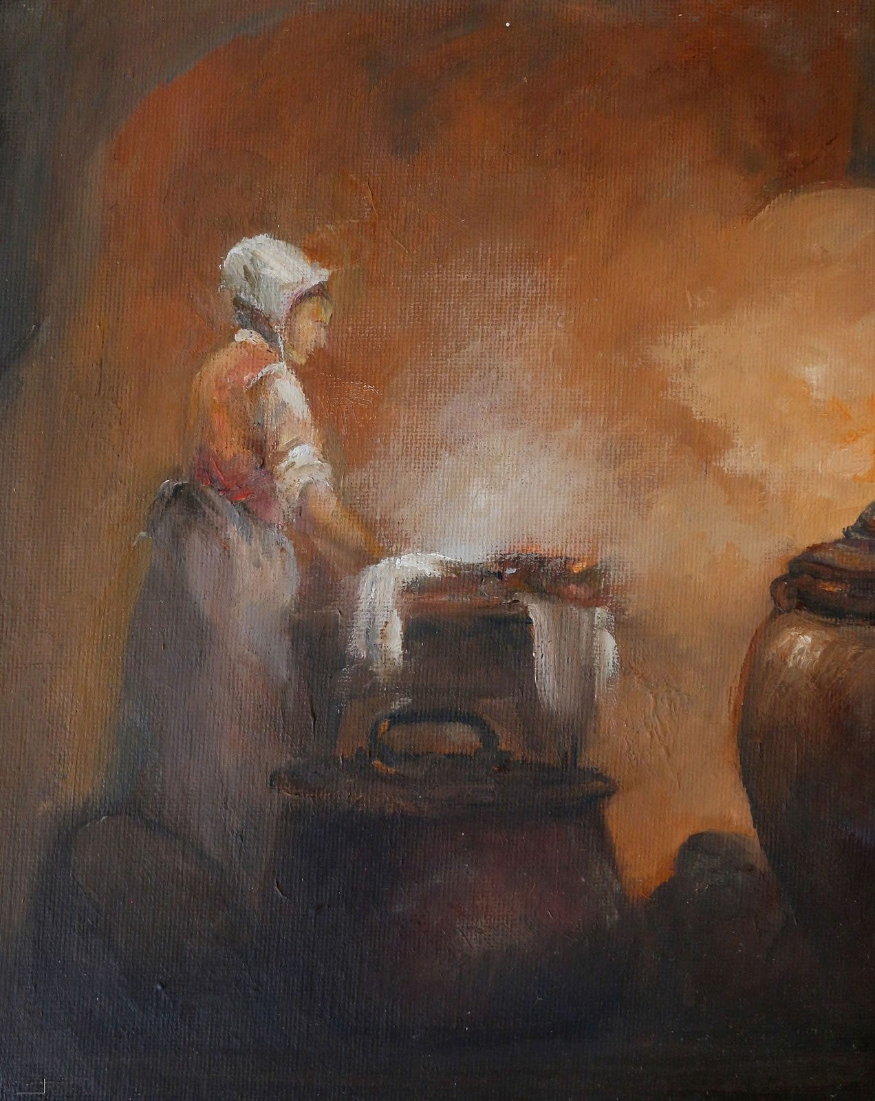 Character study in oils of medieval washer woman at work