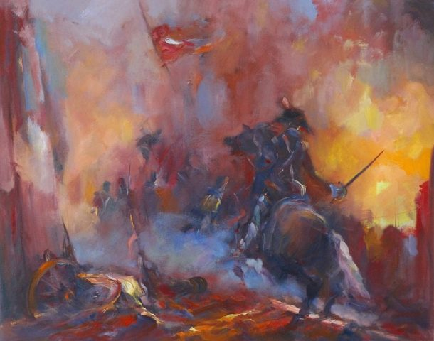 Oil painting of mounted soldier of the French Revolution in an historic scene by Stewart Taylor