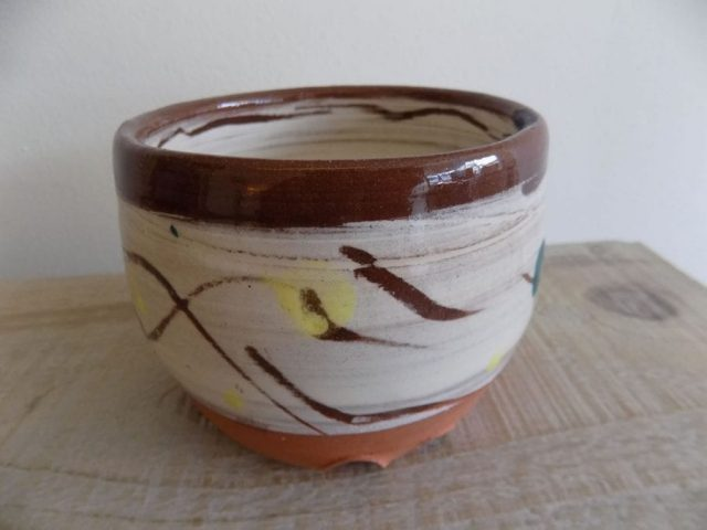 Terra cotta slip bowl by Stewart Taylor ceramics East Yorkshire