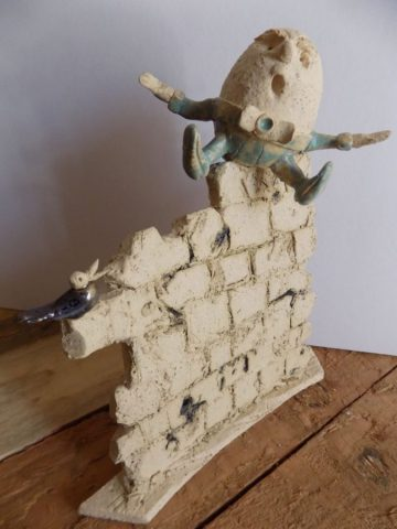 Humpty Dumpty character sculpture in stoneware by Stewart Taylor ceramics East Yorkshire