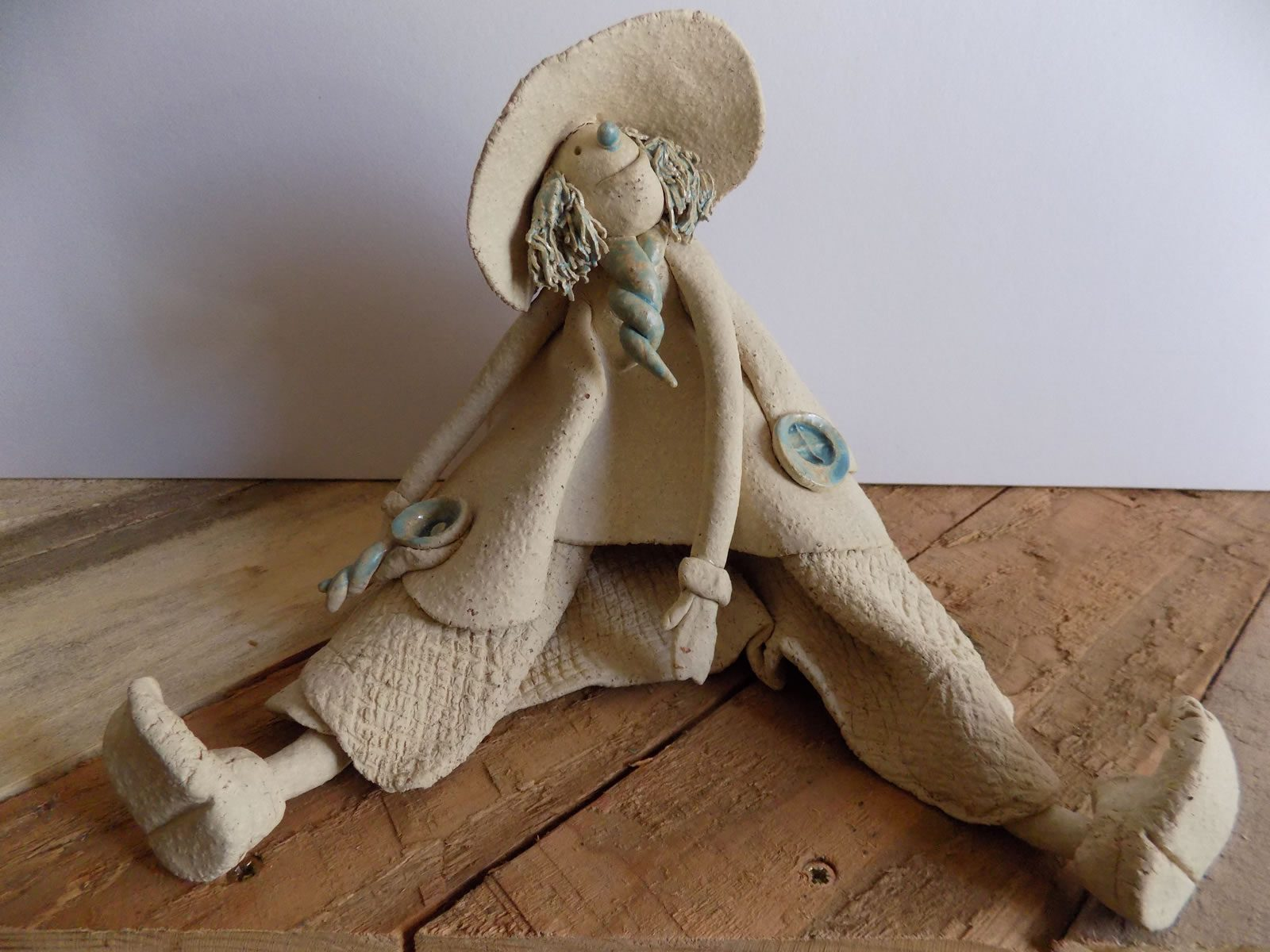 Rag doll stoneware sculpture by Stewart Taylor ceramics East Yorkshire