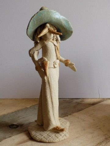 Stoneware cowboy figure sculpture by Stewart Taylor ceramics East Yorkshire