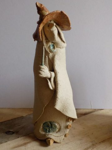 Stoneware wizard sculpture by Stewart Taylor ceramics East Yorkshire