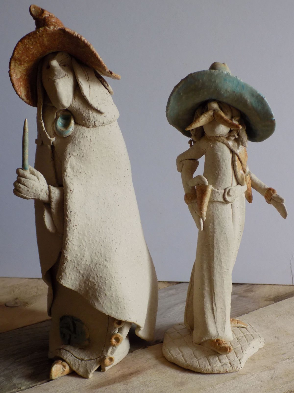 Sculpted stoneware figures by Stewart Taylor ceramics East Yorkshire
