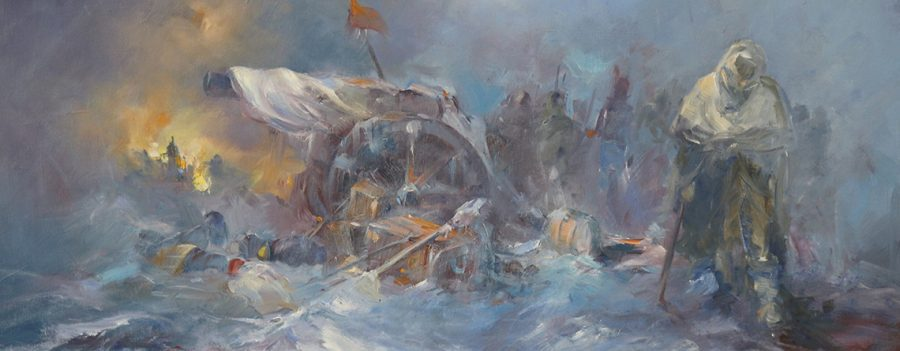 A collection of paintings depicting moments in history and the people and places of an earlier time