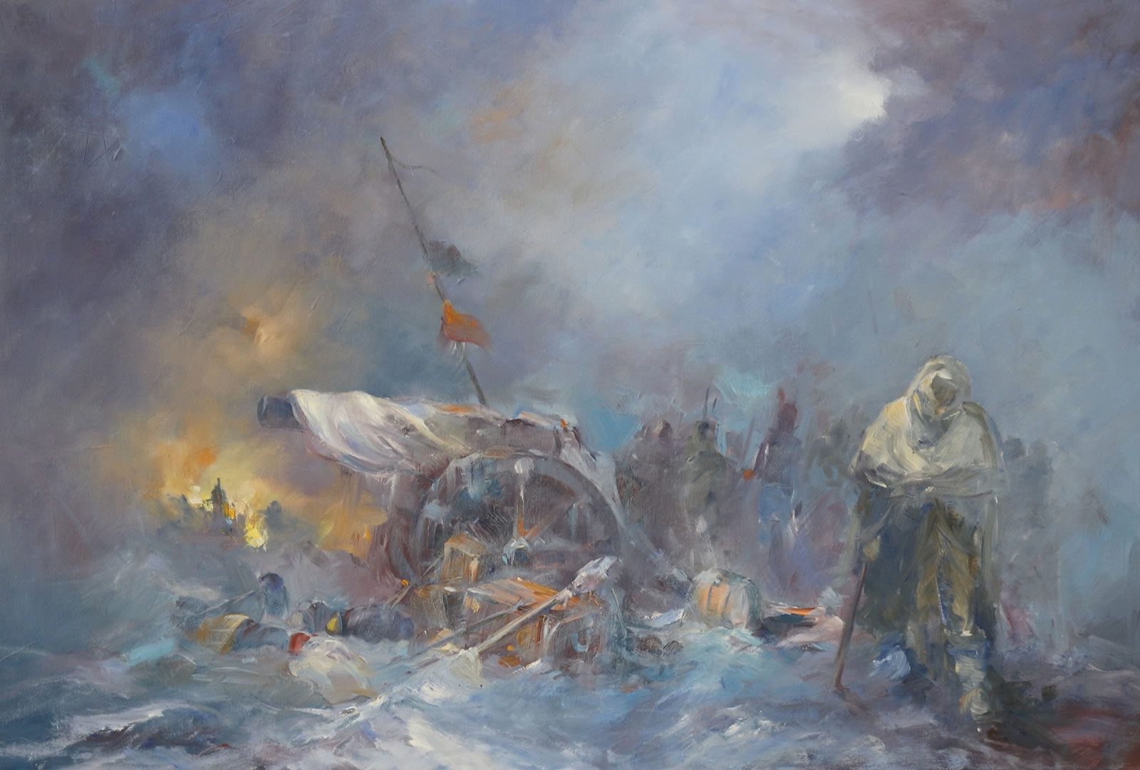 Oil painting by Stewart Taylor showing the infamous retreat from Moscow