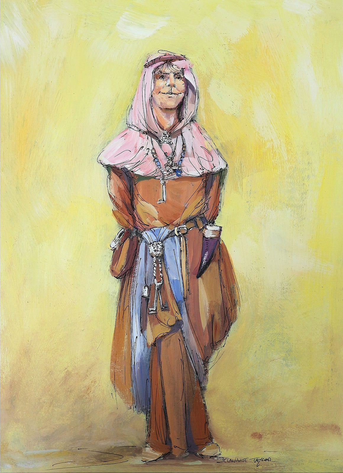 Character study in pen and oils by Stewart Taylor