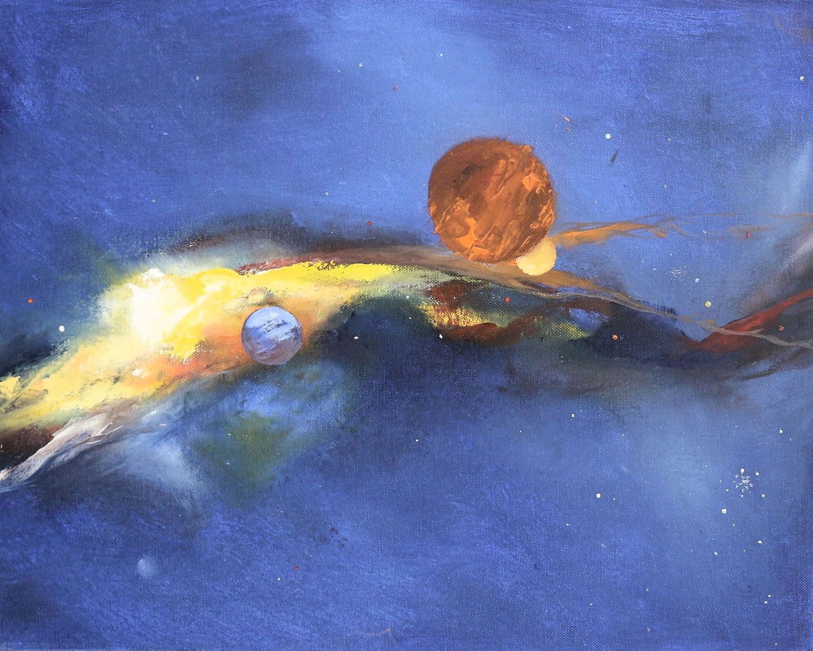 Fantasy painting of planets and nebula by Stewart Taylor