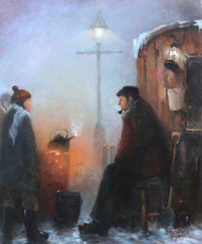 Oil on canvas showing night watchman and brazier by Stewart Taylor