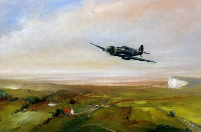 Oil painting of lone Spitfire flying over the white cliffs of Dover