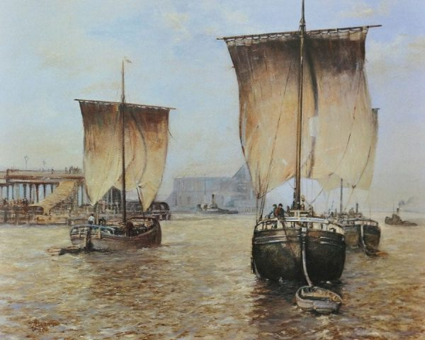 Maritime painting of sailing ships off the port of Hull