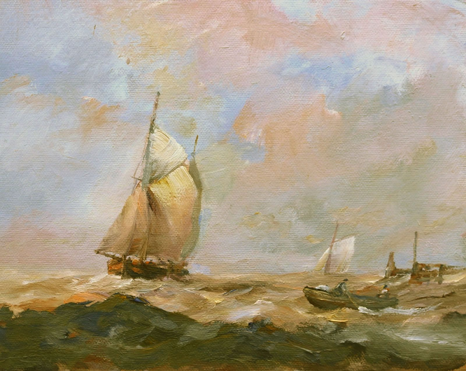 Romantic marine painting in oils by East Yorkshire artist Stewart Taylor