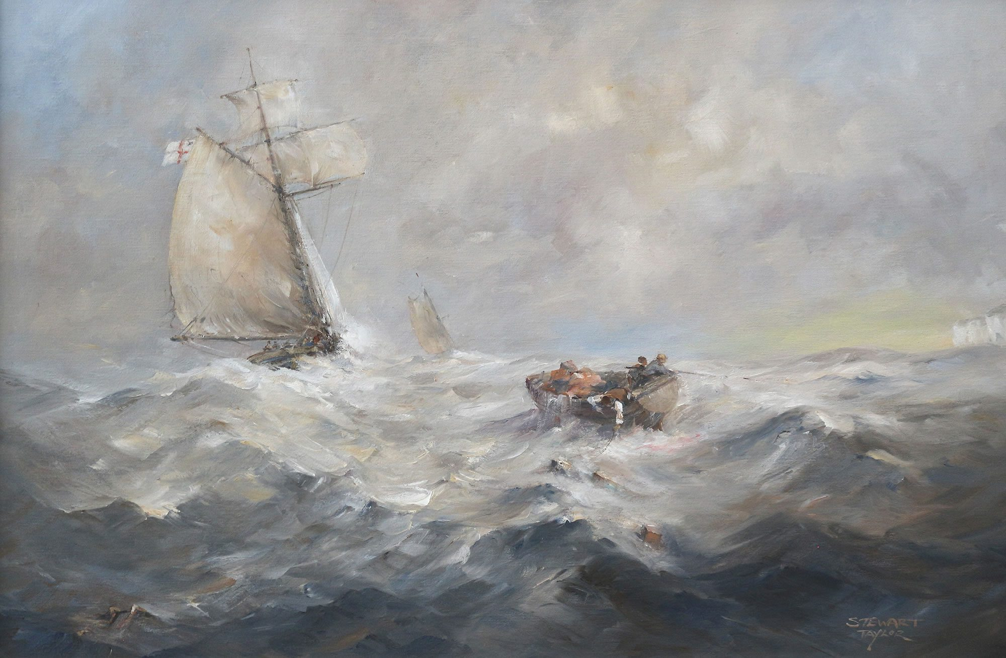Romantic marine oil painting of smugglers at sea