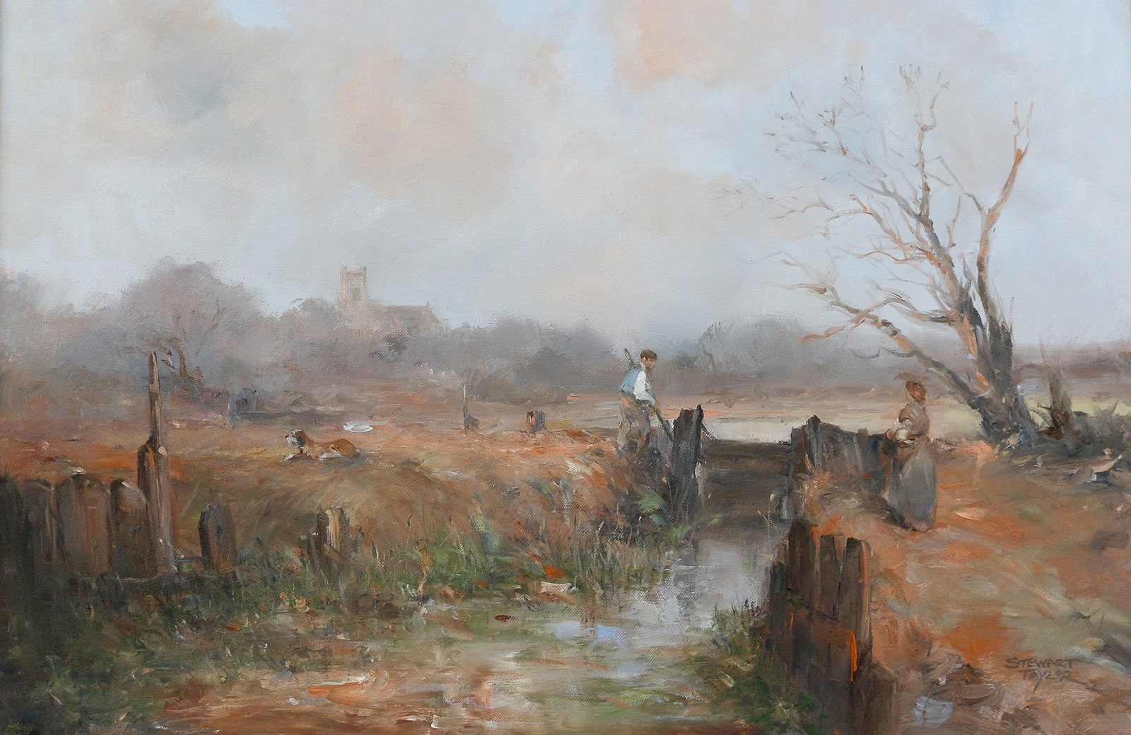 Historic rural scene in oils by Stewart Taylor