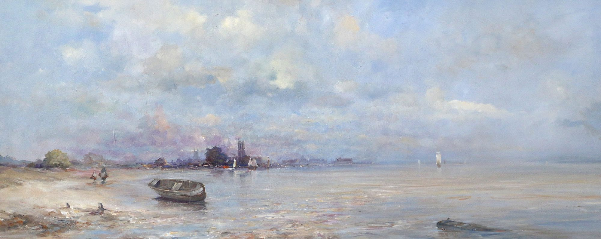Romantic landscape oil painting of Hull East Yorkshire
