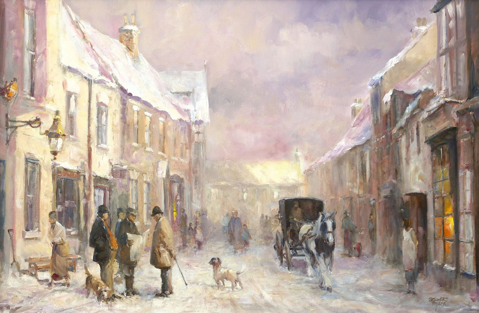 Historic winter scene in Hedon painted in oils