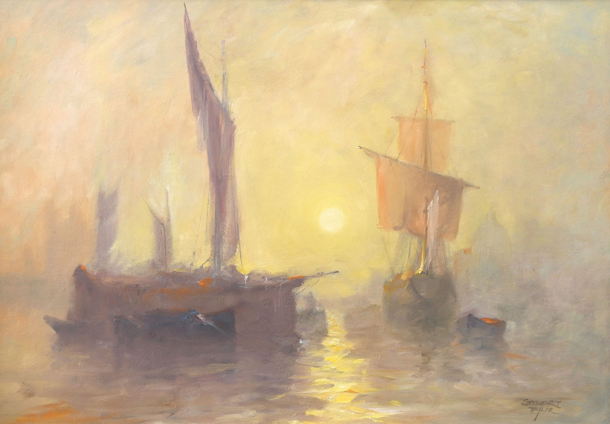 Romantic marine painting of sailing ships at sunrise