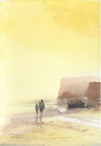 Nostalgic watercolour of figures on a beach