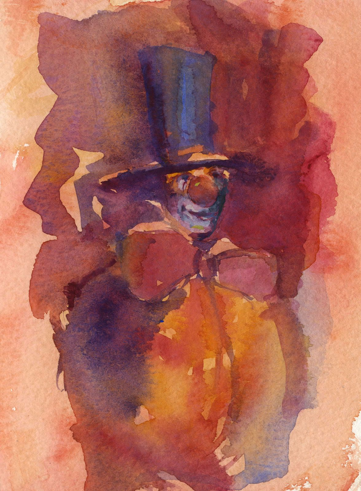 Watercolour sketch of clown character by East Yorkshire artist Stewart Taylor
