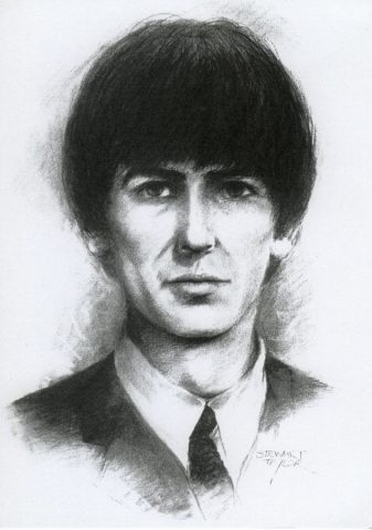 Charcola portrait of George Harrison of the Beatles by East Yorkshire artist Stewart Taylor