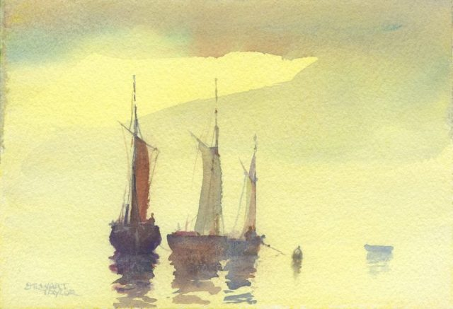 Small water colour of sail boats making ready by Stewart Taylor