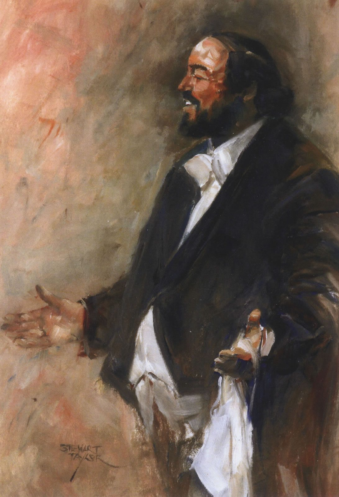 Oil painted portrait of Pavarotti by East Yorkshire artist Stewart Taylor