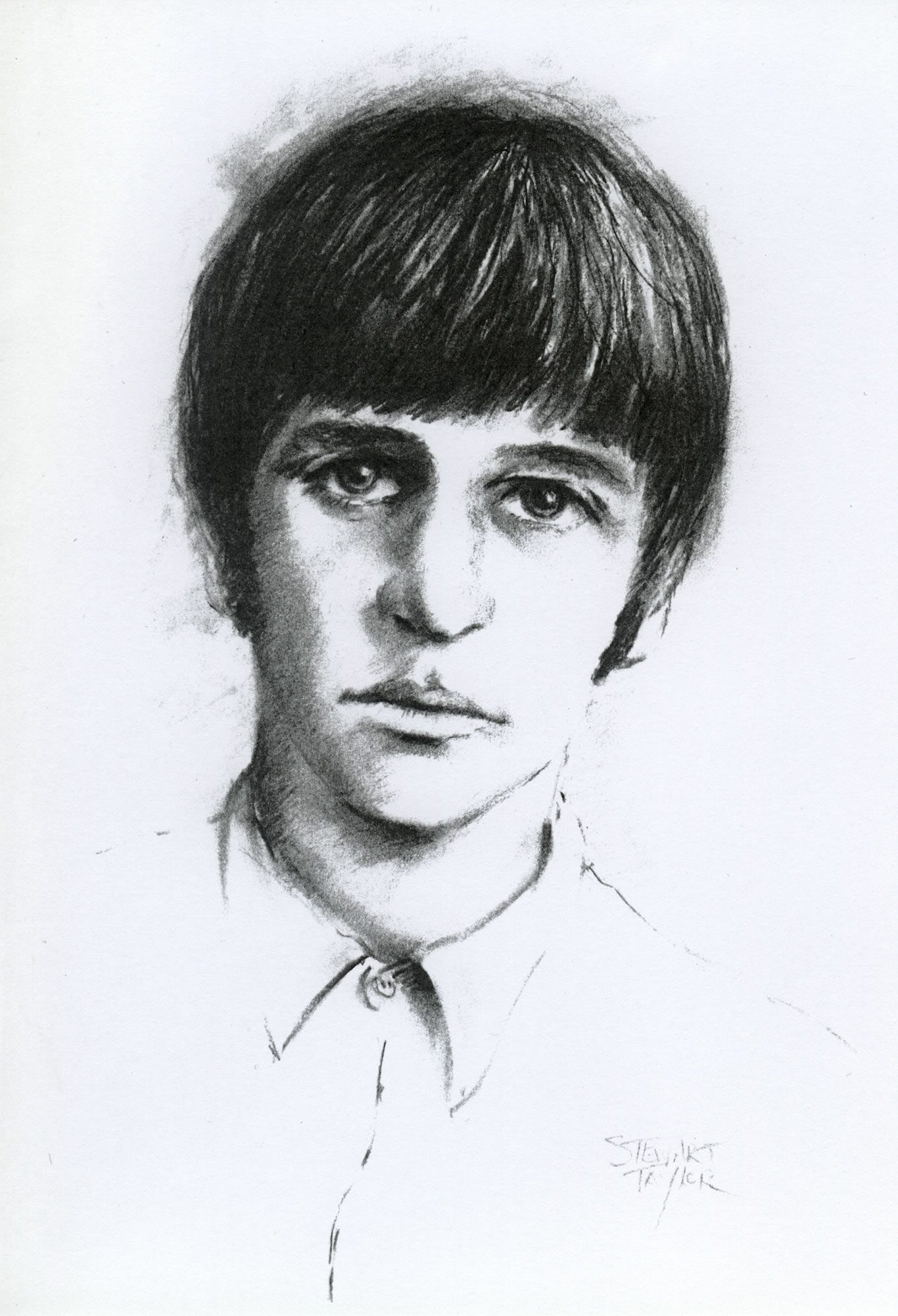 Charcoal portrait of Ringo Starr of the Beatles by East Yorkshire artist Stewart Taylor