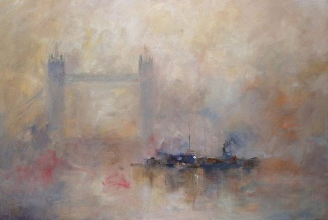 Oil painting River Thames and Tower Bridge London by Stewart Taylor Marine Artist