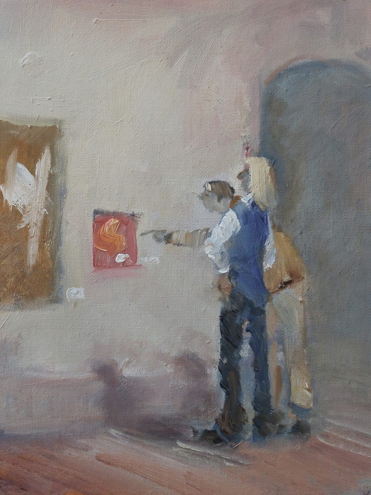 Oil on canvas study of art lovers in gallery scene by Stewart Taylor
