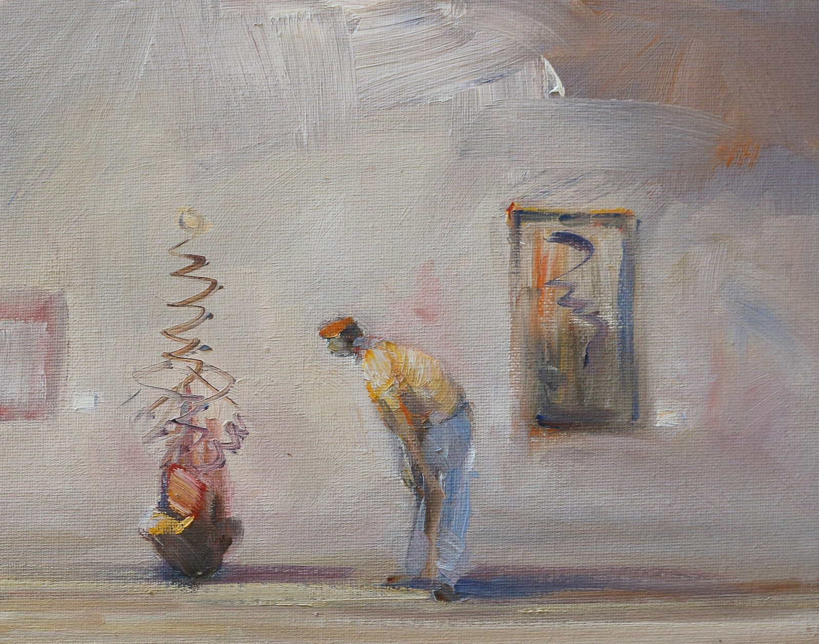 Oil on canvas study of art lover and modern sculpture in a gallery scene by artist Stewart Taylor