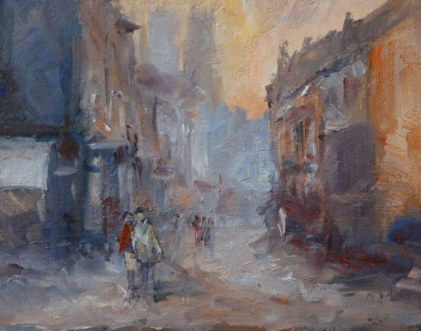 Urban street scene of Goodramgate in York painted in oils by Stewart Taylor