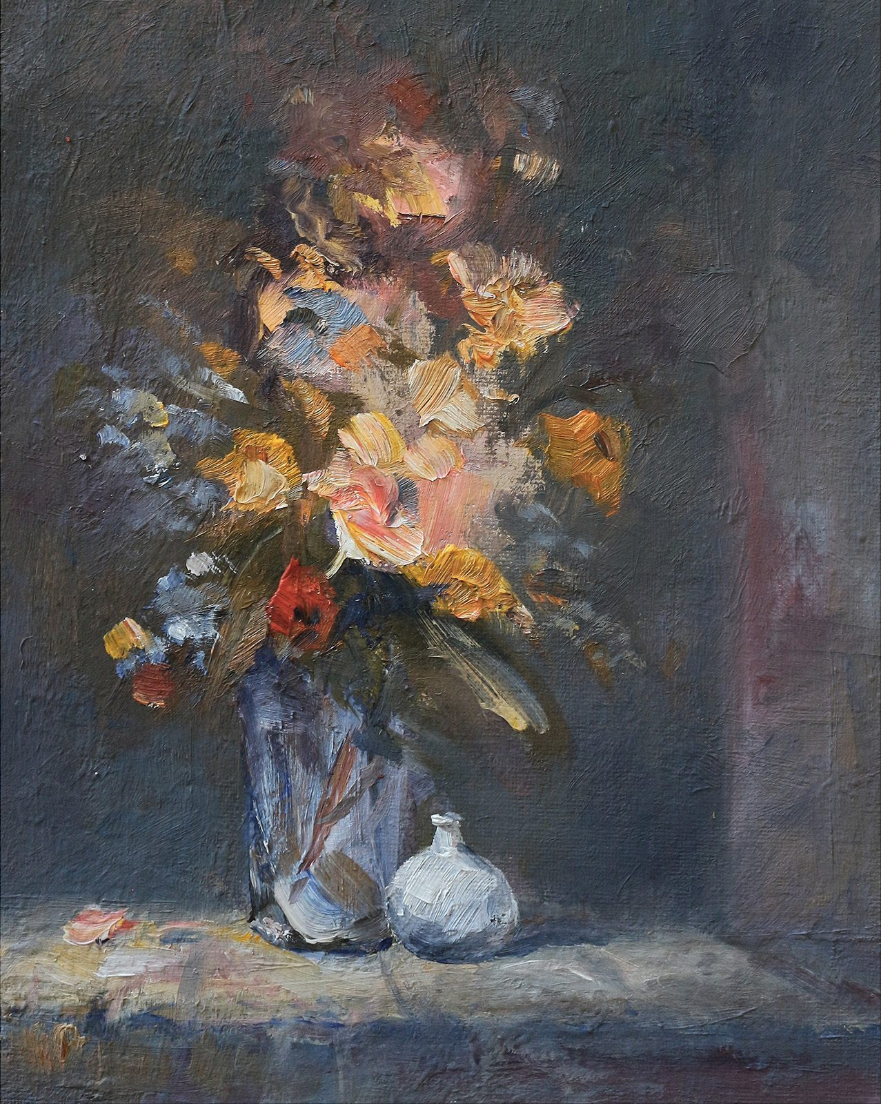 Still life of flowers in a vase painted in oils by Stewart Taylor