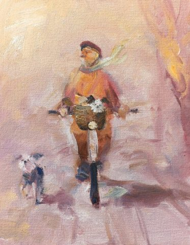 Humourous character study of cyclist and dog by Stewart Taylor artist
