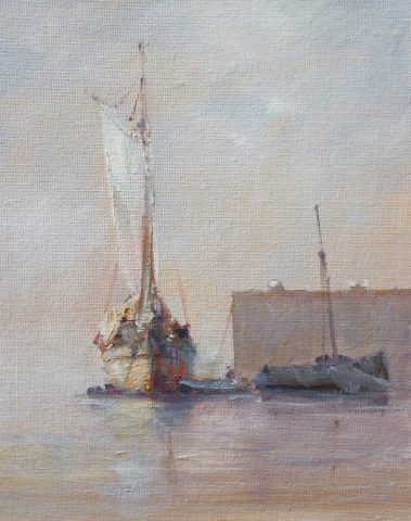 Romantic marine painting of boats at moorings near Ramsgate, Kent by Yorkshire artist Stewart Taylor