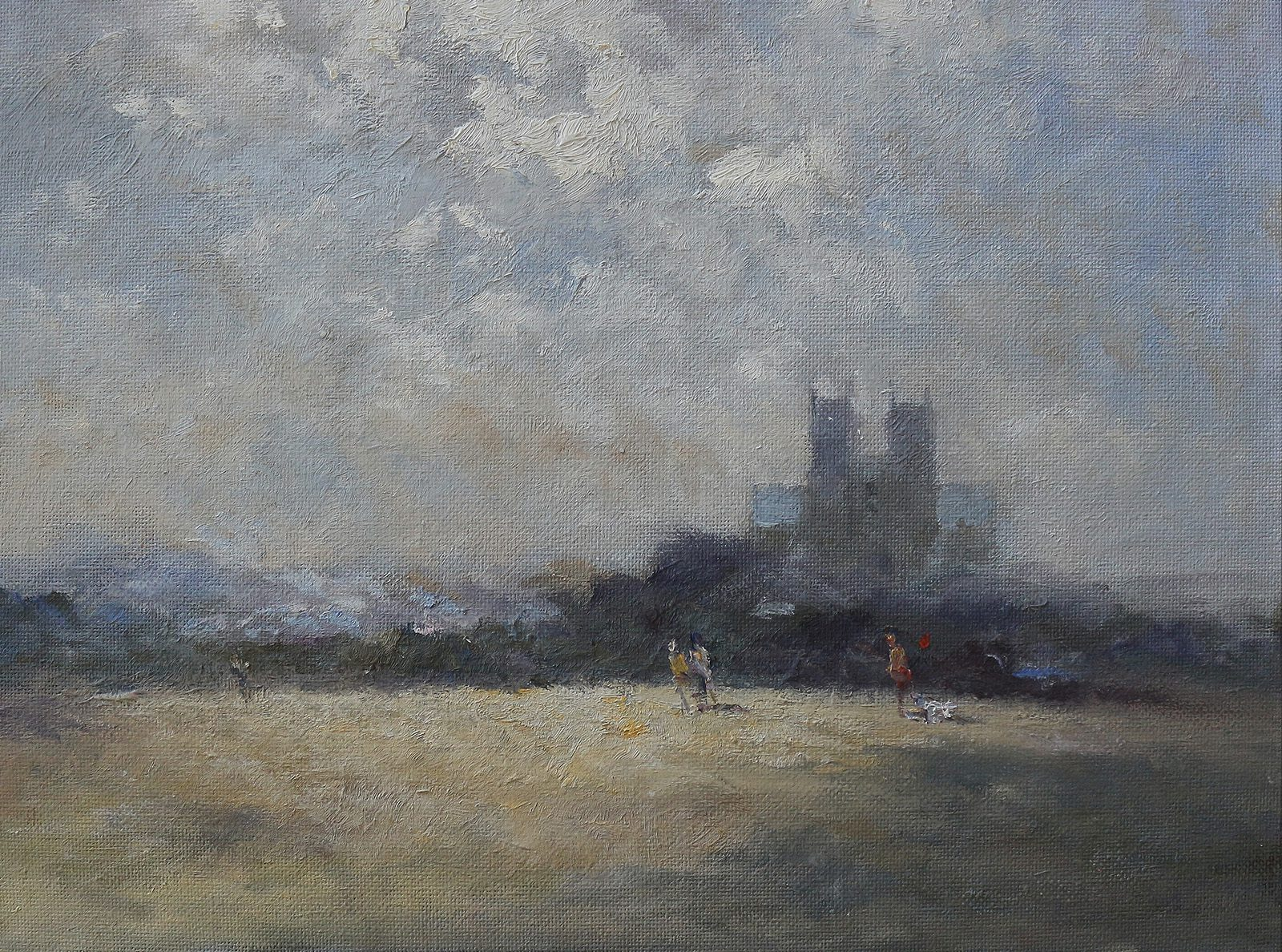 Moody landscape painting in oils on Beverley Westwood in East Yorkshire with the towers of Beverley Minster on the horizon