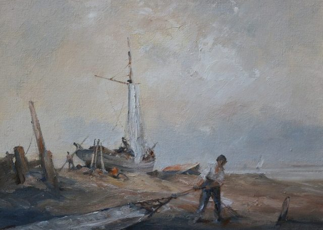 Oil painting of men working on boats at shore by Stewart Taylor