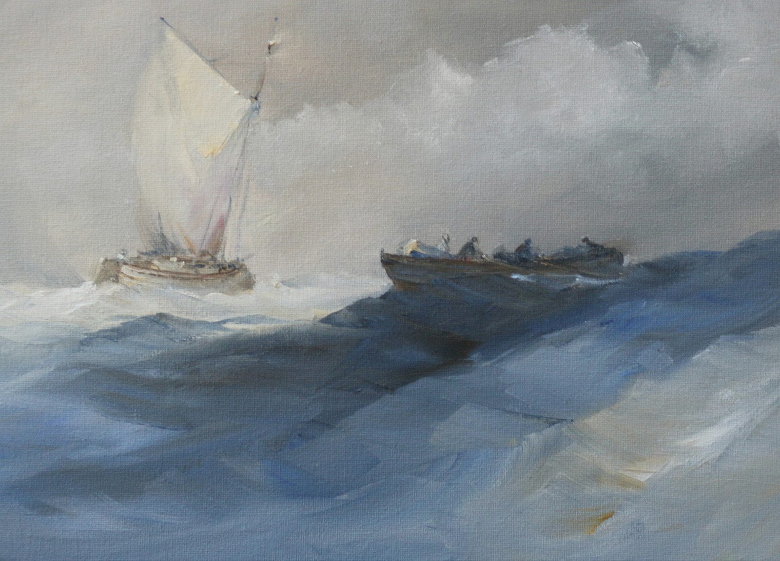 Fishing boats at sea in choppy weather marine oil painting by Stewart Taylor