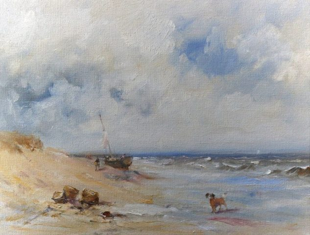Morning coastal scene in oils by East Yorkshire artist Stewart Taylor