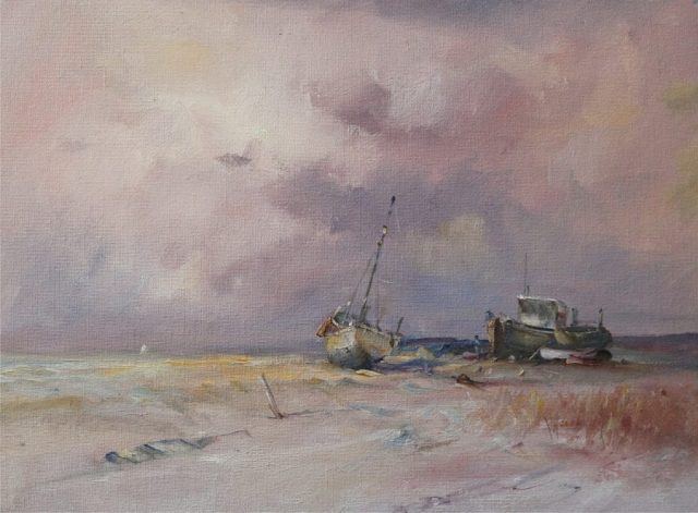 Boats moored off the Humber in oils by Stewart Taylor