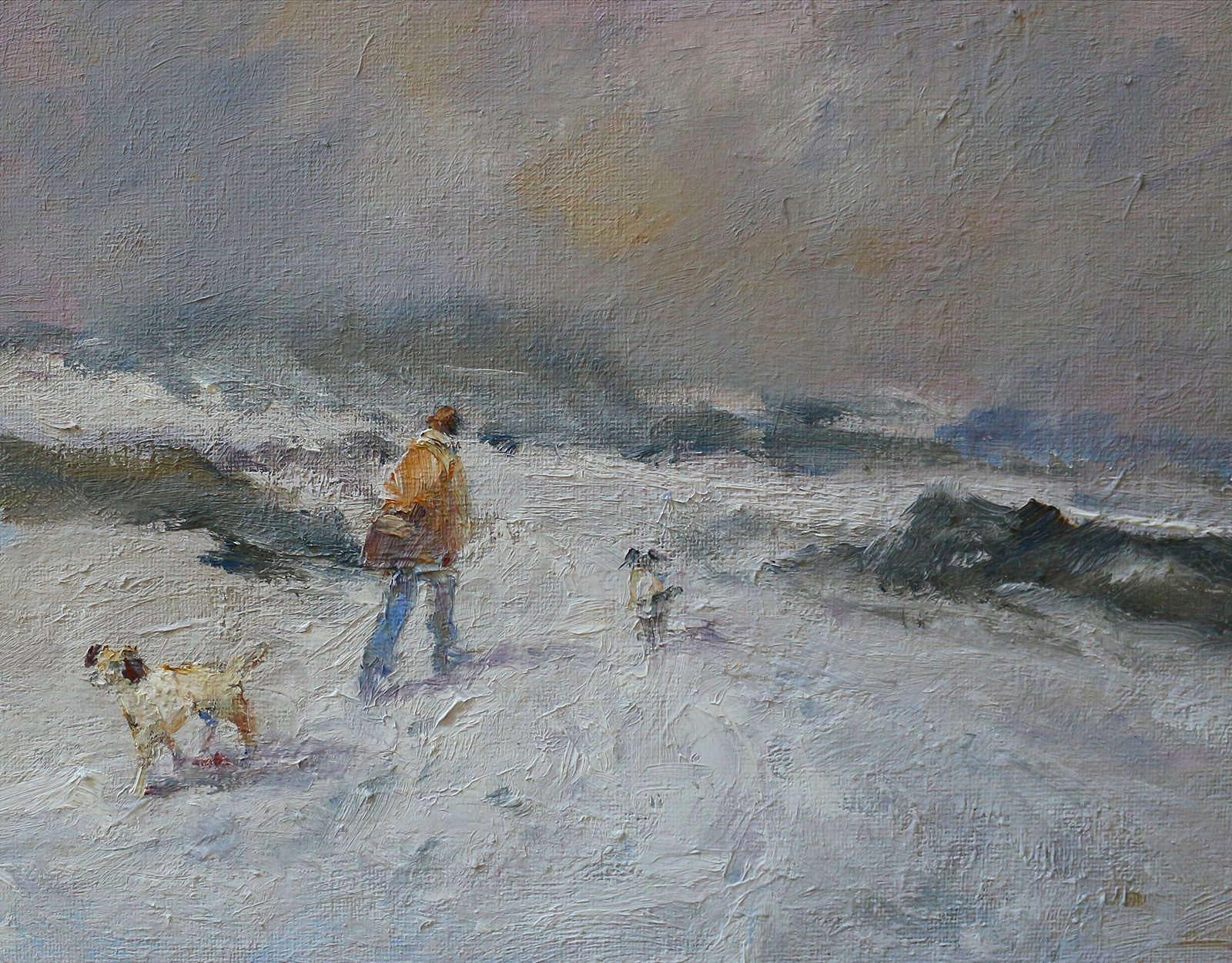 Winter scene of man waling dogs in snow painted in oils by Stewart Taylor