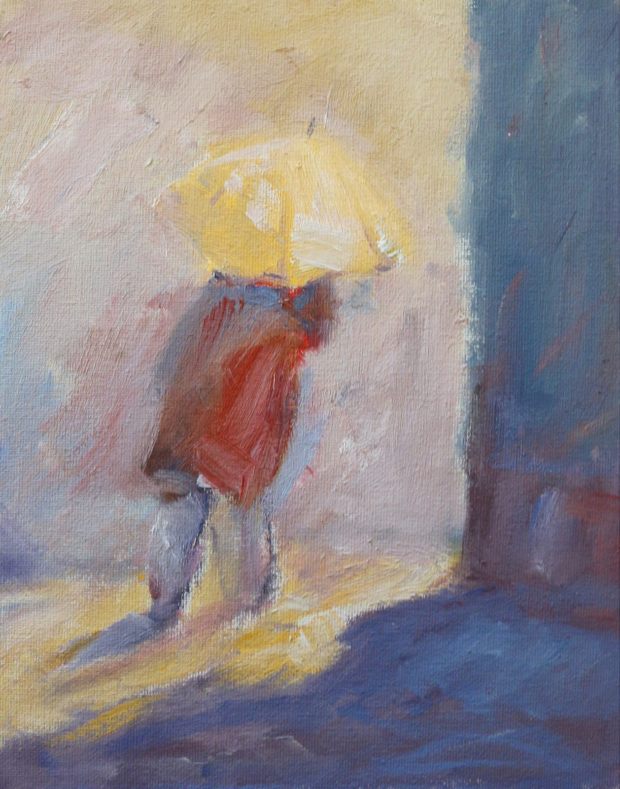Colourful study of figure with parasol in oils by Stewart Taylor