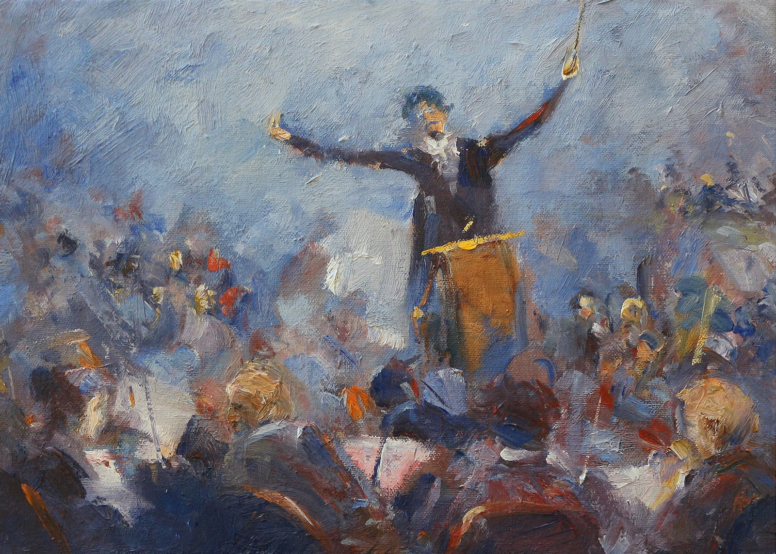 Oil painting of conductor at the head of an orchestra by Stewart Taylor