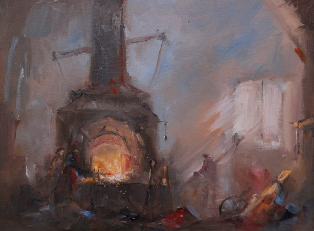 Romantic oil painting of heavy industry by East Yorkshire artist Stewart Taylor